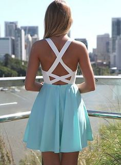White and Teal Skater Dress with Bustier Top, Dress, lace bustier skater criss cross back, Chic