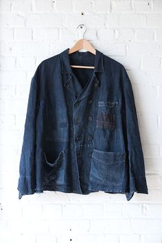 1930's french Villette double-breasted indigo linenchorejacket