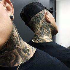 Best Neck Tattoos, Hot Guys Tattoos, Face Tattoos, Boy Tattoos, Black Ink Tattoos, Body Art Tattoos, Sleeve Tattoos, Side Neck Tattoo, Neck Tattoo For Guys