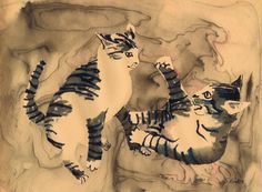 """Fighting Tigers"" by Sharon Giles Suminagashi / ink drawing on manila paper tabby kittens Tabby Kittens, Process Art, Rice Paper, Ink Painting, Manila, Tigers, Japanese, Drawings, Animals"