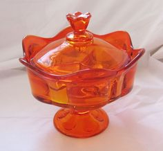 Vintage Orange Persimmon Viking Glass Paneled Cover Divided Candy Dish Gorgeous