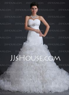 Wedding Dresses - $336.99 - Mermaid Sweetheart Chapel Train Organza Wedding Dress With Ruffle Beadwork (002017394) http://jjshouse.com/Mermaid-Sweetheart-Chapel-Train-Organza-Wedding-Dress-With-Ruffle-Beadwork-002017394-g17394