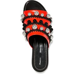Proenza Schouler Bead-embellished leather slides (9,400 MXN) ❤ liked on Polyvore featuring shoes, sandals, red and black shoes, embellished shoes, leather footwear, embellished sandals and decorating shoes
