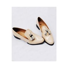 Retro Patent Leather Tassel Flat Shoes ❤ liked on Polyvore