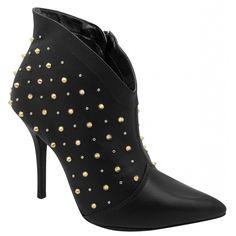 Louca por ela! Ankle Boot #viamarte 13-5501 PRETO Coleção Inverno 2013 - #tachas #spikes #winter2013