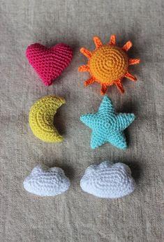 Star Heart Sun Moon Cloud Crochet Ornament Pattern Home Crochet Ornament Patterns, Crochet Ornaments, Amigurumi Patterns, Crochet Patterns, Crochet Stars, Cute Crochet, Crochet Dolls, Small Crochet Gifts, Crochet Baby Mobiles