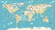 Zwierzęta mapa świata. piękny pogodny ilustracji wektorowych na obrazach myloview. Najlepszej jakości fototapety, naklejki, obrazy, plakaty. Chcesz ozdobić swój dom? Tylko z myloview!
