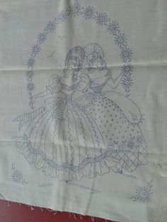American Thread Co. Dresser Scarf Stamped with  DOUBLE SOUTHERN BELLES Runner #AmericanThreadCo