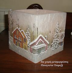 """Δια χειρός...  μεταμορφώσεις"": Christmas candles Decoupage Art, Christmas Candles, Decorative Boxes, Home Decor, Decoration Home, Room Decor, Interior Decorating, Twinkle Lights"
