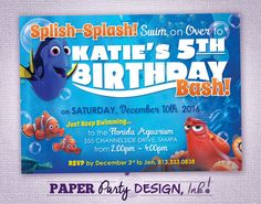 Finding Dory Birthday Party Invitation by PaperPartyDesignInk