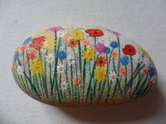 Spring wildflowers paperweight ornament - Large hand painted English beach pebble sea glass