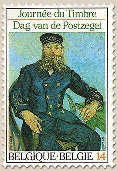Vincent van Goghs Porträt des Briefträgers Armand Roulin auf belgischer Briefmarke