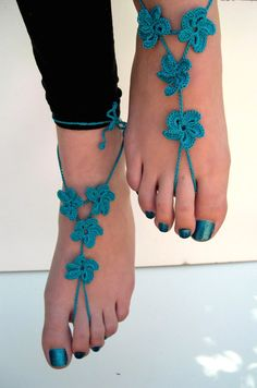 #Teal #Barefoot #Sandals barefoot #sandles Teal  #beach #wedding #foot accessory #foot jewelry #bridesmaid by MaryKCreation, $32.00