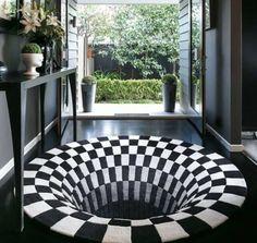 Vortex Illusion Rug Cool Illusions, Optical Illusions, New Carpet, Rugs On Carpet, Carpet Mat, 3d Design, Plaid Design, Design Ideas, Arquitetura