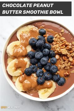 Do you ever feel tired of drinking the same old protein shake every morning? Personally, I hate it and I'm not alone, which is why this high protein chocolate peanut butter smoothie bowl is a complete game changer because it is so much more fun, tasty and does not taste nasty! It's merely a creamy chocolate protein smoothie topped up with banana, peanut butter, blueberries, and granola. This protein bowl is so refreshing and comforting that it does not feel like you are eating something…