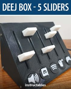 This 3D printed Deej Box has 5 sliders with magnetic, swappable badges and allows you to control PC program volumes individually and is fully configurable. #Instructables #electronics #technology #Arduino Gaming Room Setup, Impression 3d, All Is Well, Super Glue, My Glass, Made Goods, Arduino, Sliders, Badges