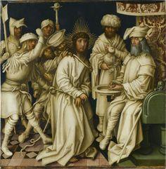 Hans Holbein d. Ä., Christus vor Pilatus und Handwaschung des Pilatus, (Graue Passion), 89,4 x 87,4 cm, 1494 –1500, Ölhaltige Mischtechnik auf Fichte, Stuttgart, Staatsgalerie.