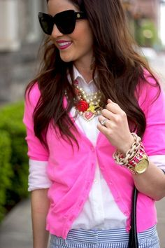 Neon pink + white button up + blue stripes + gold