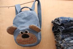 Denim backpack , Bear backpack , kids toddler backpack , Bear backpack , denim bag , childrens backpack , School supplies , Light blue jeans by SecondBirthday on Etsy