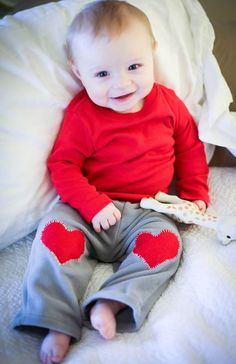 Sew heart patches on baby's pjs - so incredibly cute!