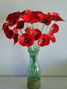3 Beautiful handcrafted ceramic clay poppy flowers | Bron's Ceramics | madeit.com.au