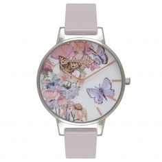 Ladies Painterly Prints Butterfly Grey Lilac, Silver & Rose Gold Watch | Olivia Burton London