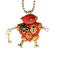 Steampunk Heart Shaped Robot Necklace Polymer Clay by Freeheart1, $24.00