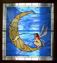 Fairy and the Moon stained glass window