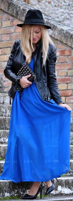 #Electric #Blue And #Leather by It-Girl