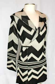 ELAN FALL COLLECTION 2012 AZTEC HOODED WRAP SWEATER COAT W/PIN BLACK IVORY eBay