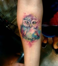 The cutest watercolor owl tattoo ever! #watercolortattoos