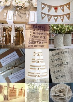 Hessian Wedding Ideas from The Wedding Community Pine Cone Wedding, Hessian Wedding, Wedding Fabric, Rustic Wedding, Wedding Mood Board, Wedding Table, Diy Wedding, Dream Wedding, Wedding Day