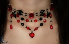 Choker Necklace Queen of Hearts  - Zelda Inspired, Red Heart with black beads,  €25.00, http://www.etsy.com/listing/69404119/choker-necklace-queen-of-hearts-zelda
