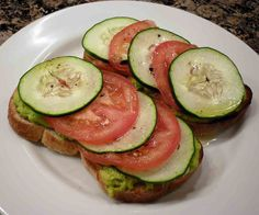 Mash avocado with a little goat cheese, spread it on wheat bread, and top with slices of tomato and cucumber. Source: Flickr user Rooey202