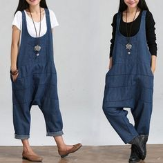 Casual Loose Jeans Pants Rompers Womens Jumpsuit Denim Overalls For Women Plus Size Novelty Trousers Female Harem Pants