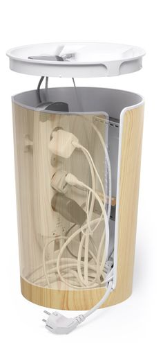 CableBin is a sophisticated bin to gather and organize cable clutter, keeping it out of sight. It is a sleek cylindrical bin to gather and organize cable clutter and keep it out of sight under desks or in the living room. Cable Storage, Storage Bins, Diy Storage, Pc Table, Cable Organizer, Cable Management, Organization Hacks, Getting Organized, Declutter