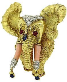 Vintage Gold Coral Ruby Sapphire Diamond Indian Elephant Brooch Pin Pendant in Jewelry & Watches, Fine Jewelry, Fine Pins & Brooches Elephant Jewelry, Animal Jewelry, Jewelry Art, Fine Jewelry, Jewellery, Vintage Brooches, Vintage Jewelry, Antique Jewelry, Indian Elephant