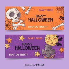 Hand drawn halloween banners Vector | Free Download Halloween Banner, Halloween Invitations, Halloween Trick Or Treat, Happy Halloween, Vector Free Download, Banner Vector, How To Draw Hands, Banners, Hand Drawn