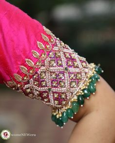 Latest Jeweled Blouse designs for 2019 Jeweled Blouse designs for Sarees Jeweled Blouses are trendy nowadays with a lot of creativity hitting this year. I have already posted different var… Wedding Saree Blouse Designs, Pattu Saree Blouse Designs, Fancy Blouse Designs, Blouse Neck Designs, Sleeves Designs For Dresses, Sleeve Designs, Blouse Patterns, Latest Blouse Designs, Sari Blouse