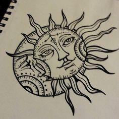 sun drawing tattoo moon design
