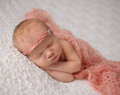 "Guava Mohair Crocheted Wrap, 15""x63"", newborn baby layer photography prop"