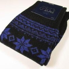 Polo by RALPH LAUREN Intarsia/Snowflake Pattern Wool Socks BLACK/ROYAL O/S NWT #PoloRalphLauren #Dress