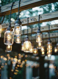 Mason Jar Edison Lights Under a Pergola Edison Lighting, Outdoor Lighting, Lighting Ideas, Yard Lighting, Jar Lights, Hanging Lights, Mason Jar Lamp, Garden Inspiration, Wedding Inspiration