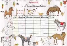 First day at School schedule, timetable, printable PDF, Stundenplan by Krima & Isa - rosa, horses, download: http://www.krima-isa.com/download/2014_Schulanfang.pdf