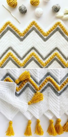 As I've mentioned before, you can add anything to your chevron and it will work! You must know what you are doing, of course, but the project by Madeline you can see below proves that chevron and bobbles go very well together. Crochet Afghans, Crochet Blanket Patterns, Baby Blanket Crochet, Knitting Patterns, Crochet Blankets, Knitting Ideas, Chevron Crochet Patterns, Chevron Afghan, Chevron Baby Blankets