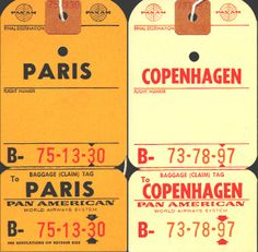 Baggage tags - 1950's-60's.