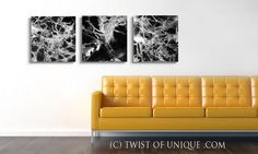 Black and white abstract Painting CUSTOM 3 panel  by TwistOfUnique, $320.00