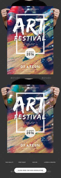 Art Festival Flyer  — PSD Template #lettering #4.25x6.25 • Download ➝ https://graphicriver.net/item/art-festival-flyer/18498485?ref=pxcr