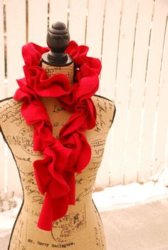 Items similar to Gorgeous Fleece Cardinal Red Ruffle Scarf on Etsy Ruffle Scarf, Red Scarves, Christmas Stockings, Trending Outfits, Holiday Decor, Unique Jewelry, Handmade Gifts, Vintage, Etsy