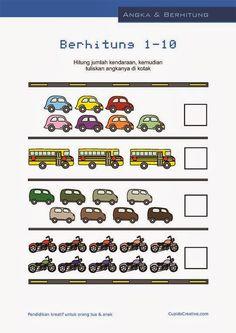 belajar hitung anak paud-balita, angka 1-10, gambar mobil/bus/sepeda motor Free Kindergarten Worksheets, Preschool Printables, Preschool Math, Kindergarten Math, Cognitive Activities, Preschool Colors, Baby Learning, Math For Kids, Pre School